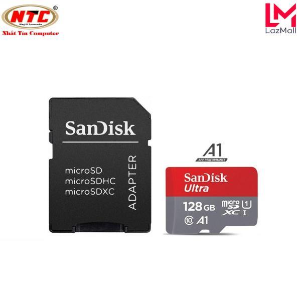 Thẻ nhớ MicroSDXC SanDisk Ultra A1 128GB Class 10 U1 100MB/s kèm adapter - Model 2017 (Xám đỏ) - Nhat Tin Authorised Store