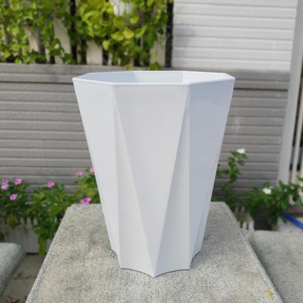 Bộ 05 chậu nhựa trồng hoa tám cạnh lớn trắng 33x41cm trồng hoa kiểng