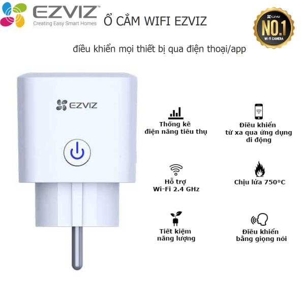 Ổ cắm wifi Ezviz thông minh T30 điều khiển bật tắt thiết bị, đo sử dụng điện năng