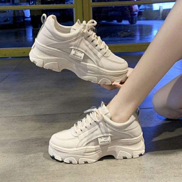 giày thể thao nữ độn đế răng cưa S10 cao 5cm tôn dáng xinh chất da mềm đi êm chân TẶNG tất khử mùi trị giá 15k khi mua sp tại BITBOT giá rẻ
