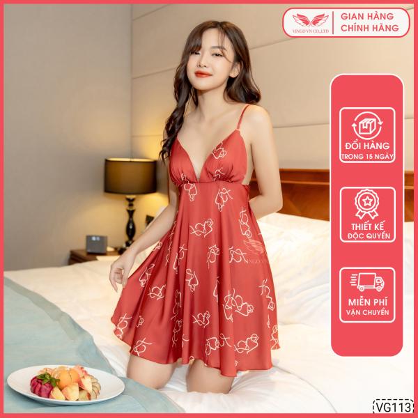 Nơi bán Váy đầm ngủ sexy nữ 2 dây Lụa Pháp cổ V tặng mút ngực rời KHÔNG kèm quần trong nhiều họa tiết Hàng thiết kế Vingo VNGO VG113