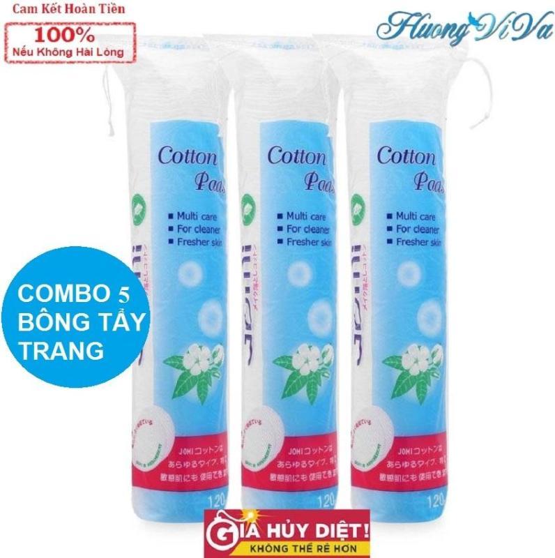 (COMBO 5) Bông tẩy trang jomi 80 miếng, bông tẩy trang jomi Cotton Pads, bông tẩy trang nhật bản - Huongviva cao cấp