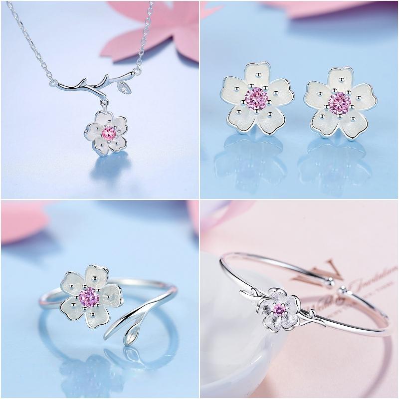 Bộ trang sức hoa Anh Đào nhụy hồng bạc 925 4 món Set 1
