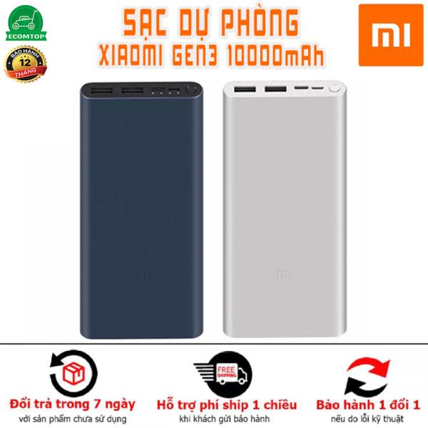 [SẠC DỰ PHÒNG XIAOMI GEN 3 10,000mAh ] Pin sạc dự phòng xiaomi Gen 3 pro Mi 18w QC 3.0 sạc cho tất cả các điện thoại Ip samsung oppo ... Lỗi 1 đổi 1 trong 7 ngày đầu sử dụng bán tại shop Ecomtop