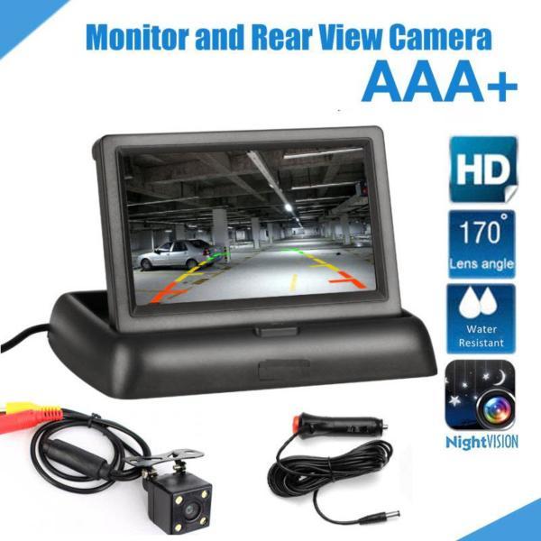 MÀN HÌNH TAPLO 4.3 INCH DẠNG GẬP TRÊN Ô TÔ KÈM CAMERA LÙI DÂY DÀI 6M - MÀN HÌNH TAPLO HIỂN THỊ CAMERA LÙI 4.3 LCD TFT LOẠI GẬP - Bộ màn hình LCD 4.3 và Camera lùi 4 Led siêu nét cho Ô tô