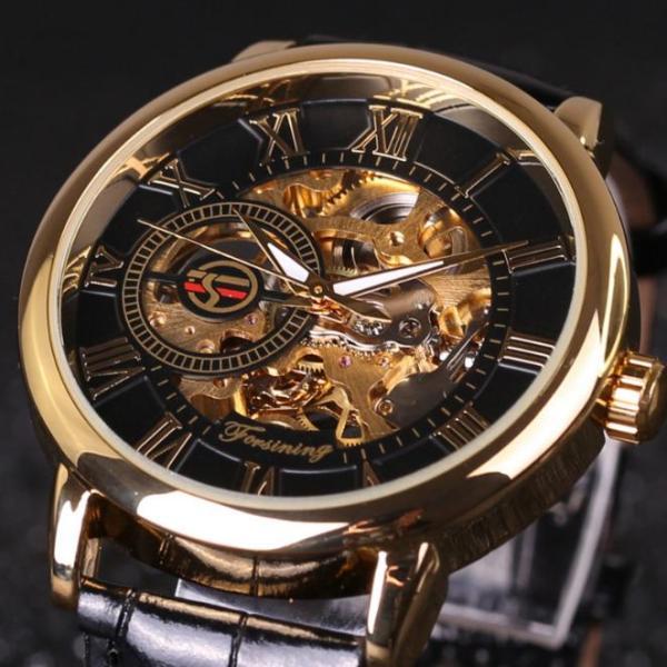 Đồng hồ cơ nam Forsining Handwinding H099M DÂY DA lộ máy bán chạy