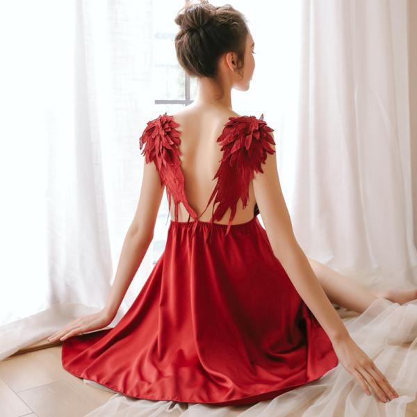 Nơi bán Váy ngủ 2 dây cánh thiên thần màu đỏ đồ ngủ freesize sexy