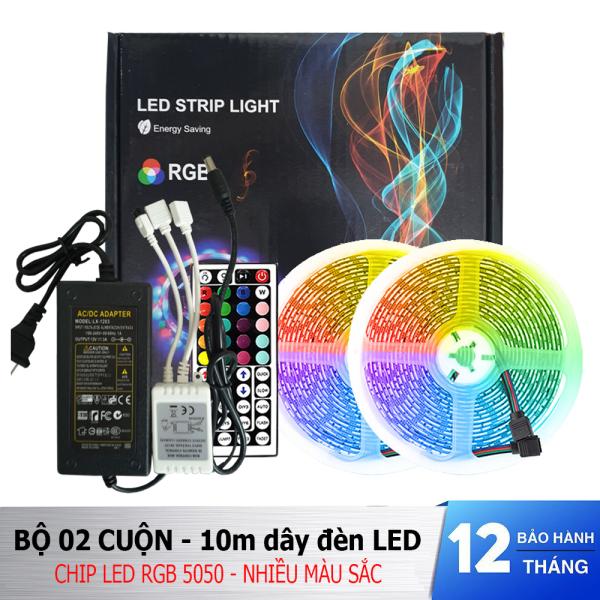 Bảng giá Bộ đèn LED dây dán 10m (2 cuộn) chip 5050 RGB nhiều màu sắc trang trí có keo dán - Fullbox