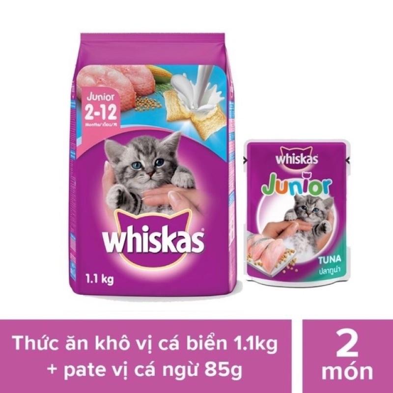 Bộ thức ăn dạng hạt dành cho mèo con Whiskas vị cá biển và sữa 1.1kg + Pate cho mèo con vị cá ngừ 85g