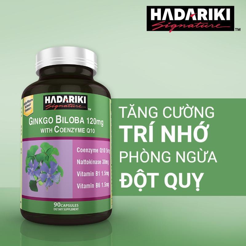 Thực Phẩm Bảo Vệ Sức Khỏe Não Bộ Hadariki Ginkgo Biloba 120mg With Coenzyme Q10 (Chai 90 viên)