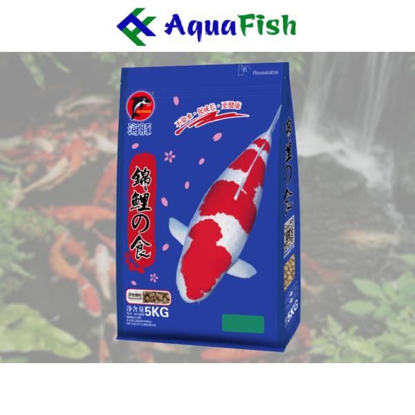 Thức Ăn Cho Cá Koi Tăng Trưởng và Tăng Màu Porpoise Size M/L 5kg (Thức ăn ao cấp chuyên dụng cho cá Koi)