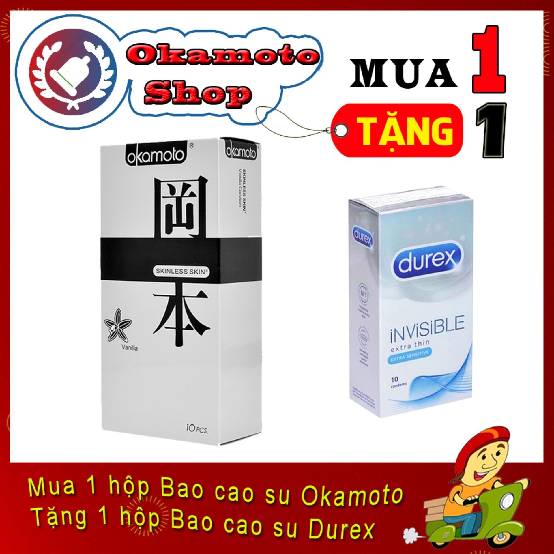 [Mua 1 tặng 1] Bao Cao Su Okamoto Vanilla Hương Vani 10s - Tặng Bao cao su Durex Invisible cực siêu mỏng 10s