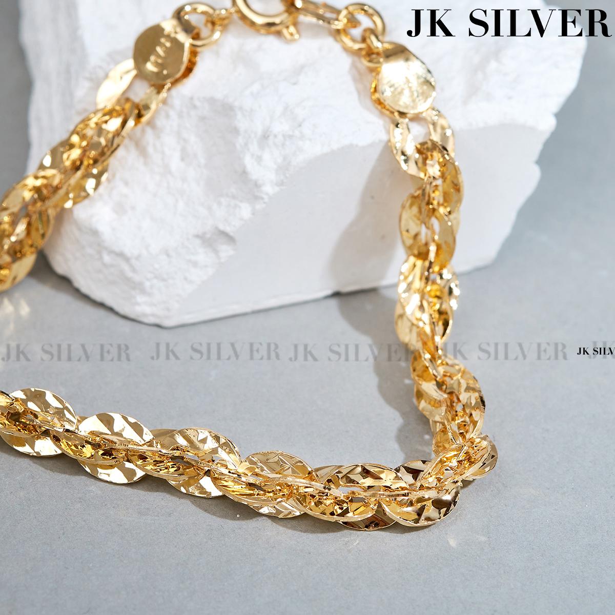 [HCM]Lắc tay bạc nữ dập máy cao cấp mạ vàng thật 18K hoặc mạc bạch kim JK Silver kiểu dáng khắc máy tinh xảo cao cấp U.vong249 - vòng tay miễn phí ship