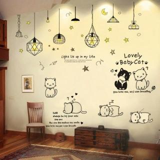 Decal trang trí Mèo Baby Cat kết hợp Đèn trang trí-Tranh dán tường phong cách thumbnail