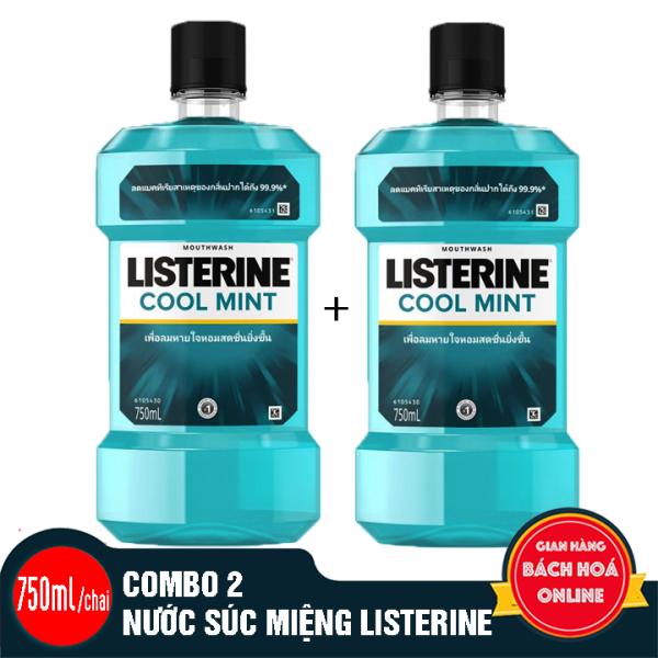 2 chai nước súc miệng LISTERINE - 750ml/chai
