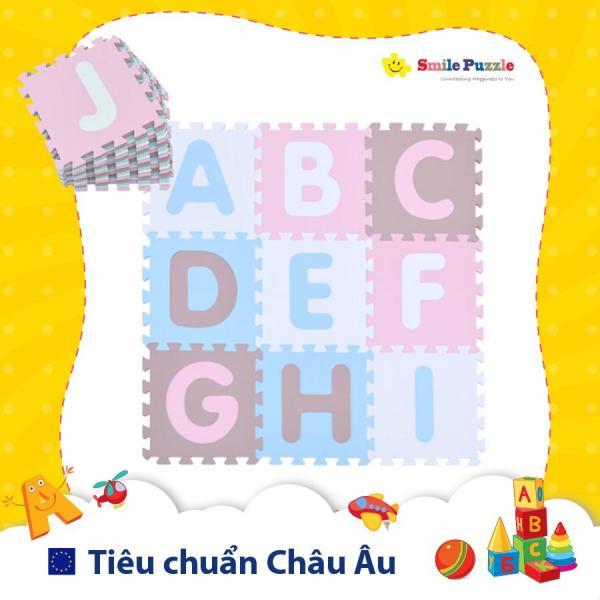 Thảm xốp cho bé - chữ cái Pastel (26 miếng, kích thước 1.2mx1.8m) Smile Puzzle - KHÔNG MÙI CHUẨN CHÂU ÂU