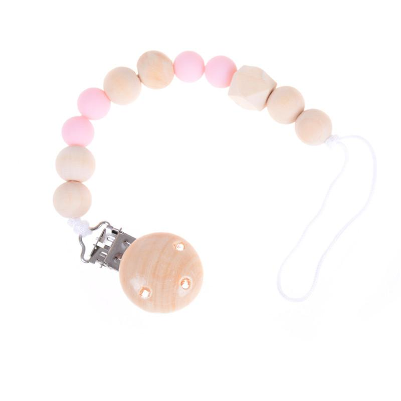 Candy Color Pacifier Clip Chain Holder Wood Silicone Beads Nipple Dummy HolderHI
