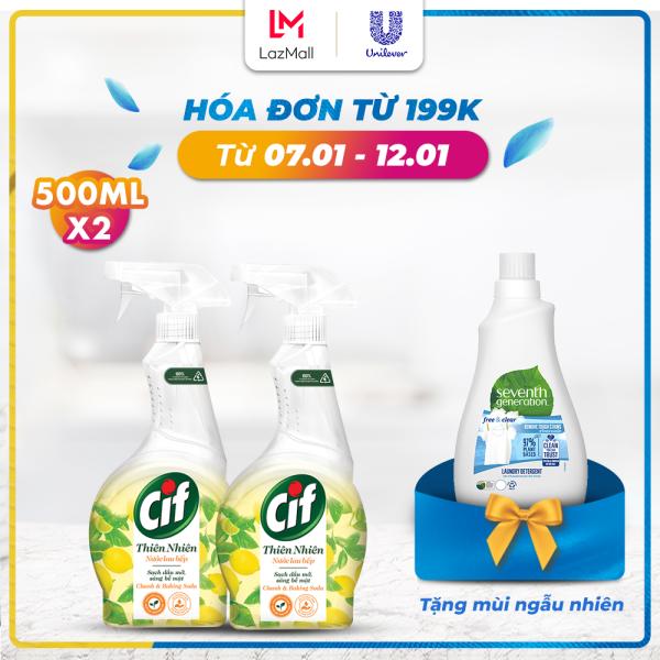Combo 2 Nước Lau Bếp Cif Thiên Nhiên Chanh & Baking Soda Sạch Dầu Mỡ An Toàn (500ml x2)