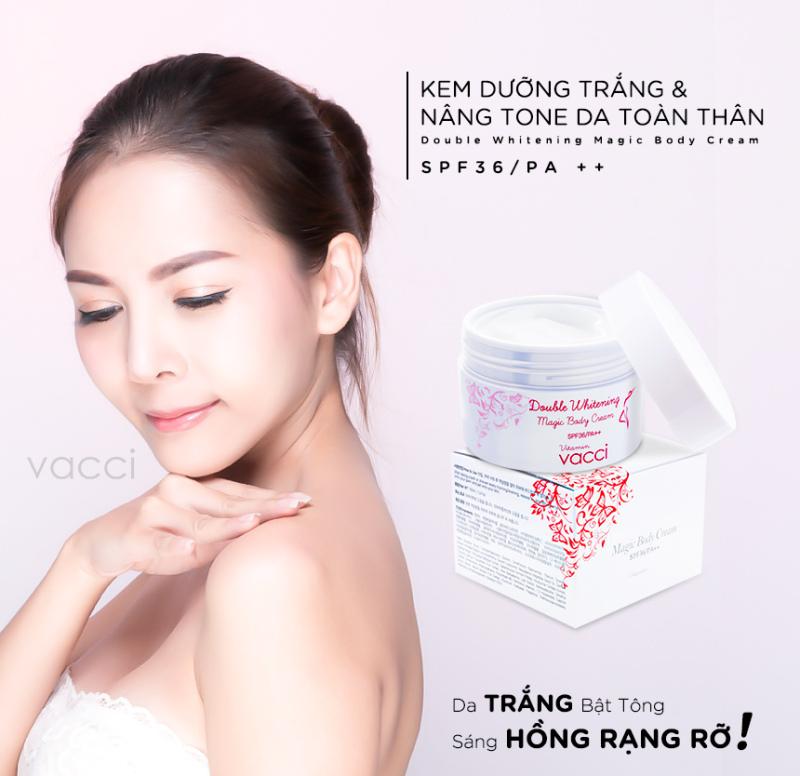 Kem dưỡng trang điểm trắng da toàn thân SPF 36 PA++ Vacci Double Whitening Magic Body Cream