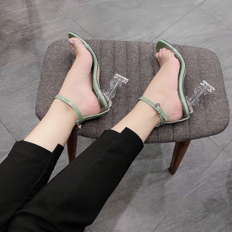 Giày cao gót 9p  sandal nữ đế chữ Y trong suốt giá rẻ