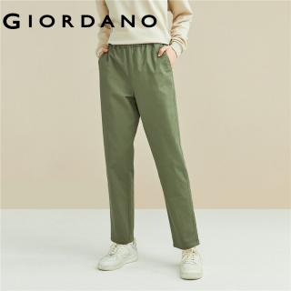 GIORDANO Women Pants Stretchy Elastic Waistband Fashion Pants Simple Classic Solid Color Slant Pockets Casual Pants 05411098 thumbnail