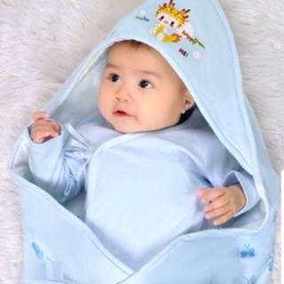 Chăn cuốn Chăn choàng Chăn ủ mùa hè cho bé có mũ cotton 2 lớp cho bé thumbnail