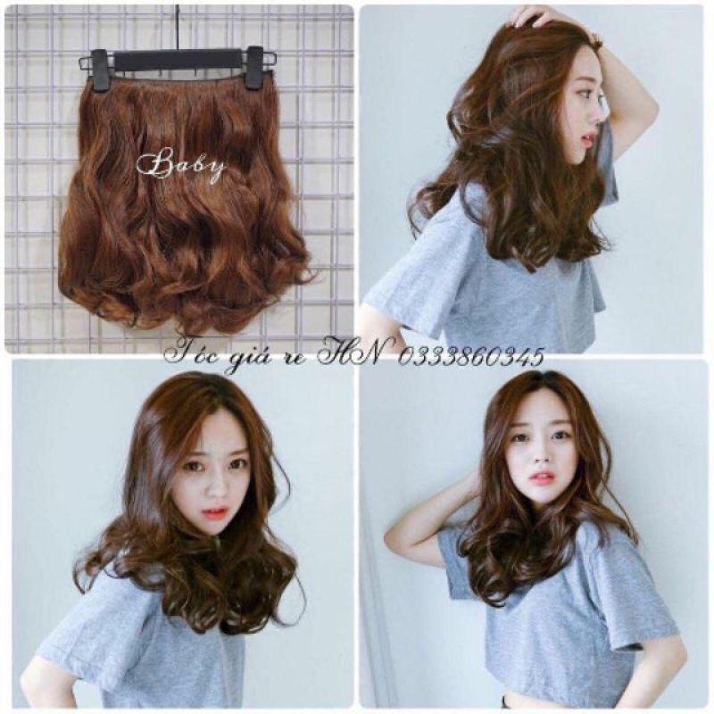 Tóc giả nữ kẹp 💄 FREESHIP 💄 tóc kẹp xoăn ngắn 35cm k35 nhập khẩu