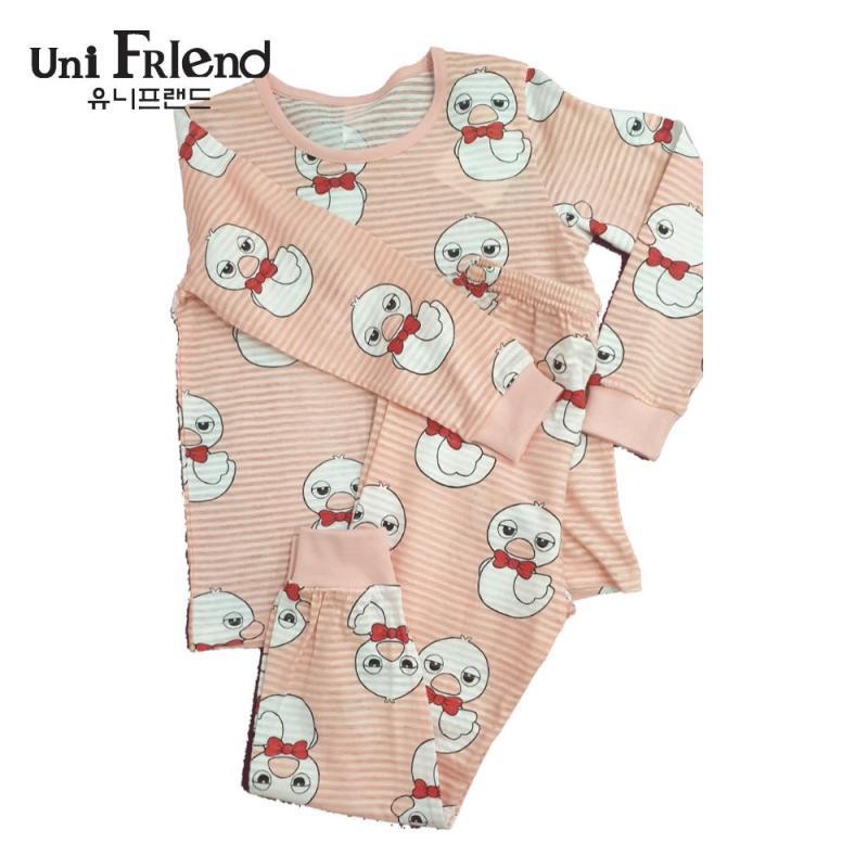 Nơi bán Đồ bộ mặc nhà bé gái Unifriend thun dài hoạ tiết chú vịt U9SSTD16