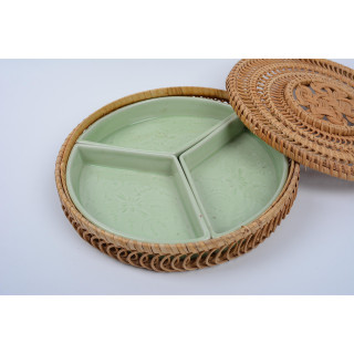 Khay đựng bánh kẹo, mứt tết, khay để suất phần ăn tráng men - Gốm sứ kết hợp mây tre đan BÁT TRÀNG - men xanh ngọc thumbnail