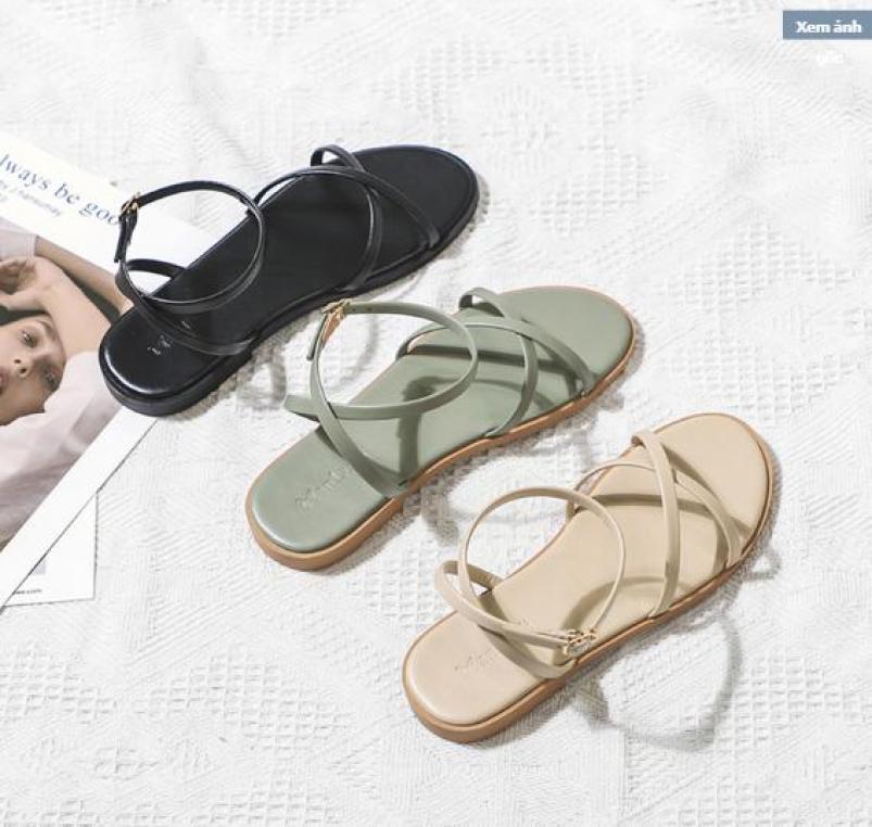 Giày Sandal bệt quai chéo bóng new fashion Hàn Quốc - Giày sandal quai chéo gót chéo-SD-0257 giá rẻ