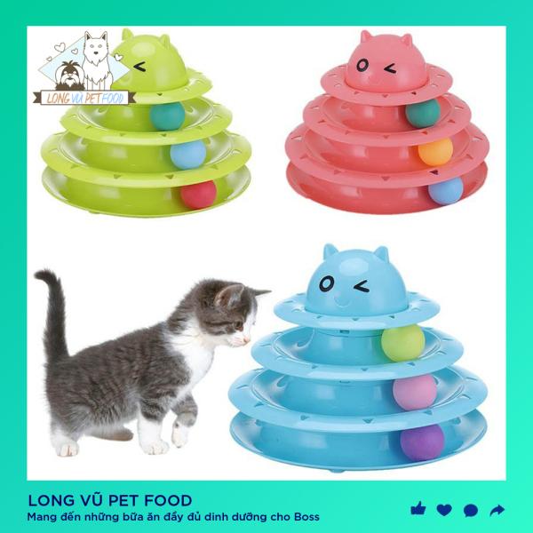 Đồ chơi tháp bóng 3 tầng hình đầu mèo dành cho mèo, đồ chơi cho chó, đồ chơi cho mèo, đồ thú cưng