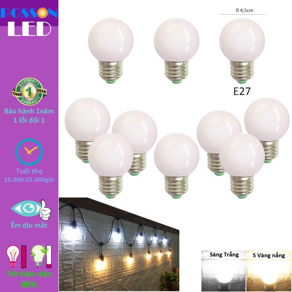 10 Bóng đèn Led 1w bup tròn bulb G45 kín chống nước trang trí ngoài trời tiết kiệm điện LL-1x