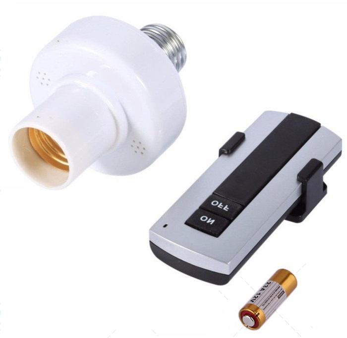 Đui đèn điều khiển từ xa mạ vàng có Remote, Đuôi đèn E27 điều khiển từ xa bằng sóng RF