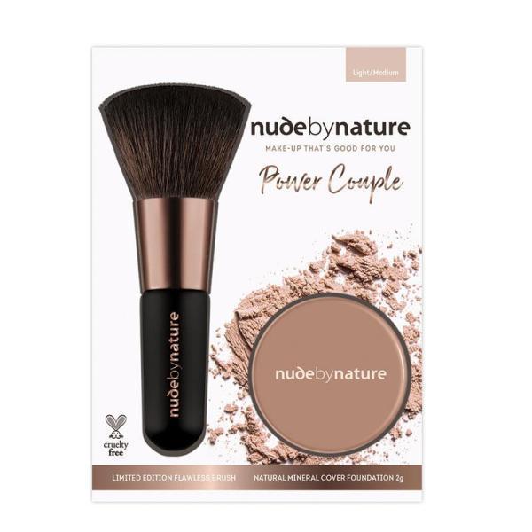 Bộ Phấn Nền Kèm Cọ Trang Điểm Nude by Nature Power Couple Foundation & Brush Tông Da Sáng/Trung Bình giá rẻ