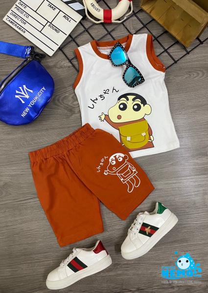 (GIÁ TẬN XƯỞNG,HỔ TRỢ VẬN CHUYỂN)  Bộ đồ cho trẻ em in hình cậu bé bút chì cho bé trai từ 8kg đến 26kg-có 5 màu