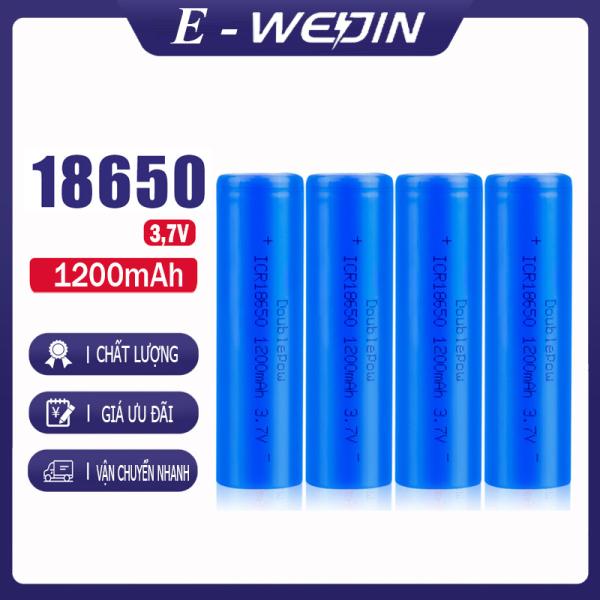 Bảng giá [Combo 04 viên] Pin sạc 18650 đầu bằng Doublepow - 1200mAh (xanh) chính hãng, Pin Lithium 3,7V - 18650 dung lượng thực 1200mAh