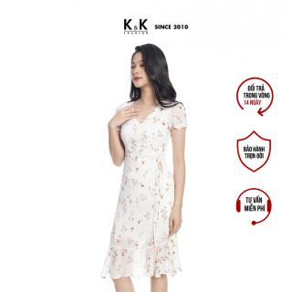 Đầm Nữ Dáng Chữ A K&K Fashion KK105-28 Chất Liệu Voan Hoa Nền Trắng Mềm Mại thumbnail