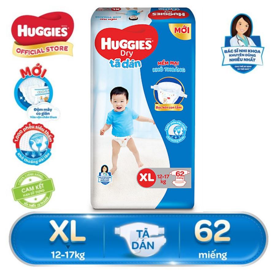 [FREESHIP 20K ĐƠN 300K] Tã/bỉm dán Huggies Dry Super Jumbo XL62(Đệm mây co giãn) - Gói 62 miếng - Cho bé 12-17kg