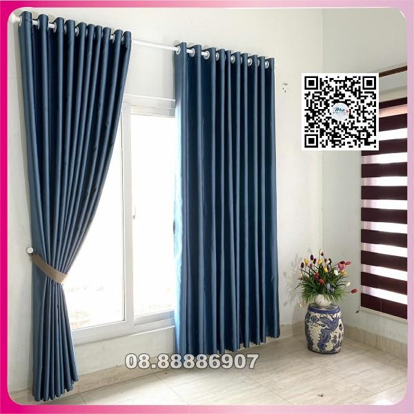 Rèm cửa màu xanh dương may sẵn, kích thước tùy chọn, chống nắng >95% dùng làm rèm cửa chính, rèm cửa sổ, shop rèm cửa Huy hoang curtain - Ready-made blue curtains, optional sizes, >95% sun protection, used as main curtains, window curtains