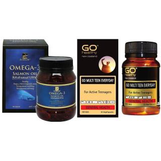 Combo Viên dầu cá Hồi Dr Natural Omega 3 Salmon Oil và Viên uống tăng cường sức khỏe cho trẻ ở tuổi tăng trưởng GO MULTI TEEN EVERYDAY thumbnail