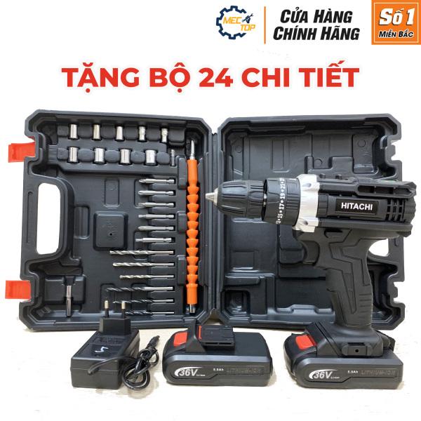 [FULL BOX kèm bộ 24 chi tiết] Máy khoan pin Hitachi 36V - Khoan búa 3 chức năng - 2 Pin 5 Cell - Máy khoan dùng pin - Máy bắt vít 36V
