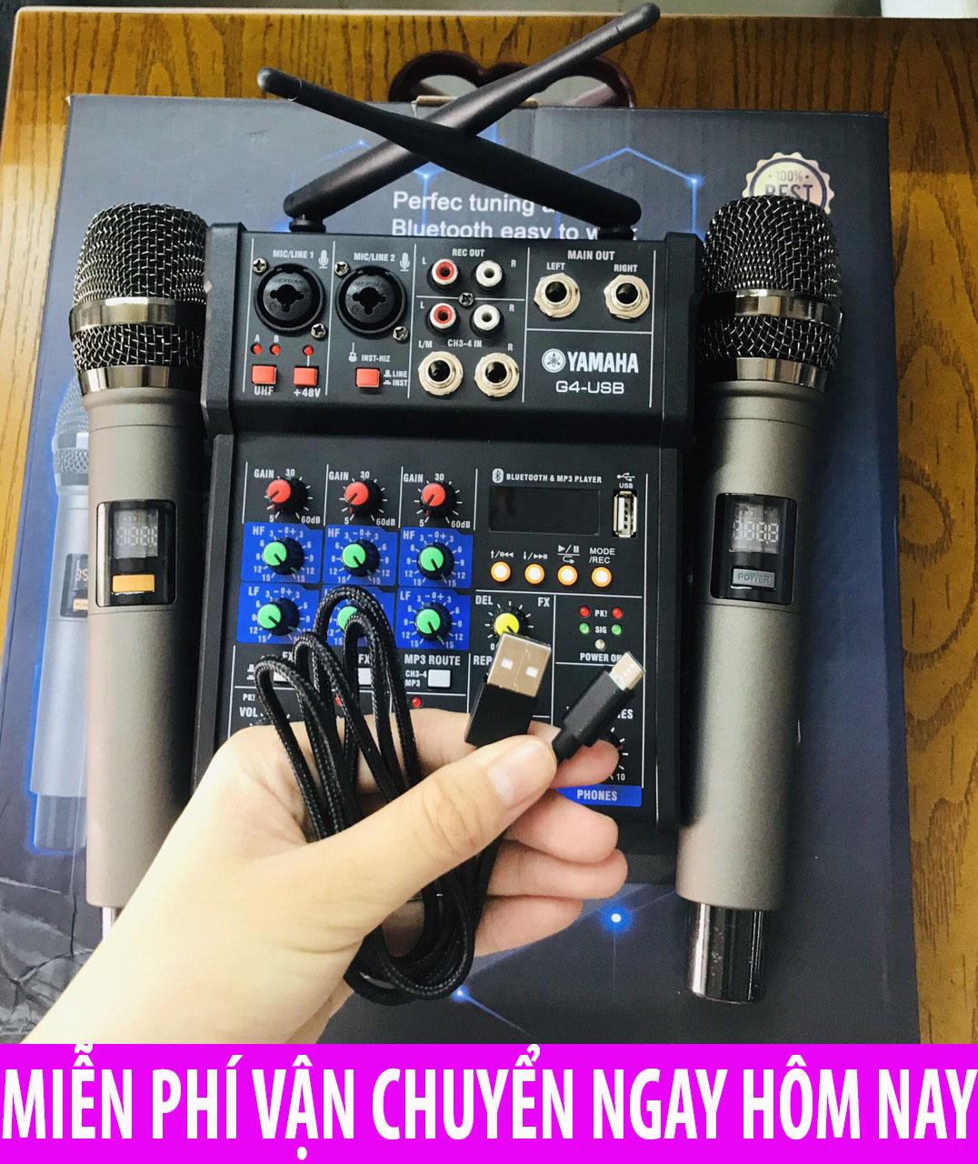 [TẶNG 2 MICRO KHÔNG DÂY] Combo Trọn Bộ Bàn Mixer G4 Thế Hệ Mới Cao Cấp, Bàn Mixer G4 Live Stream  Màn Hình Led Có Bluetooth Dành Cho Loa Kéo - Âmly Dàn Hát Karaoke Gia - Hỗ Trợ Bluetooth , USB Nên Tiện Lợi Khi Kết Nối