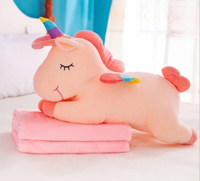 [HCM]Chăn gối 3 trong 1 chú ngựa dễ thương siêu mịn size 58cm chăn 1m6 ngựa hồng