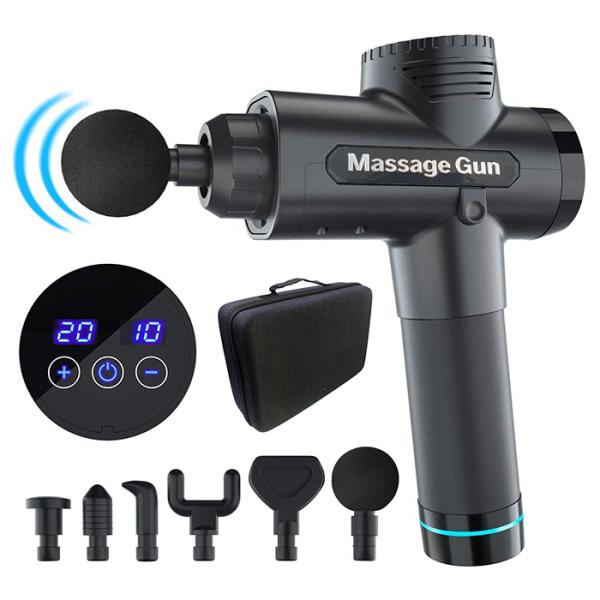 Máy massage cầm tay Fascial Gun  4 đầu 6 chế độ rung - Súng massage toàn thân giảm căng cơ trị nhức mỏi vai gáy CAO CẤP ( BẢO HÀNH 12 THÁNG)