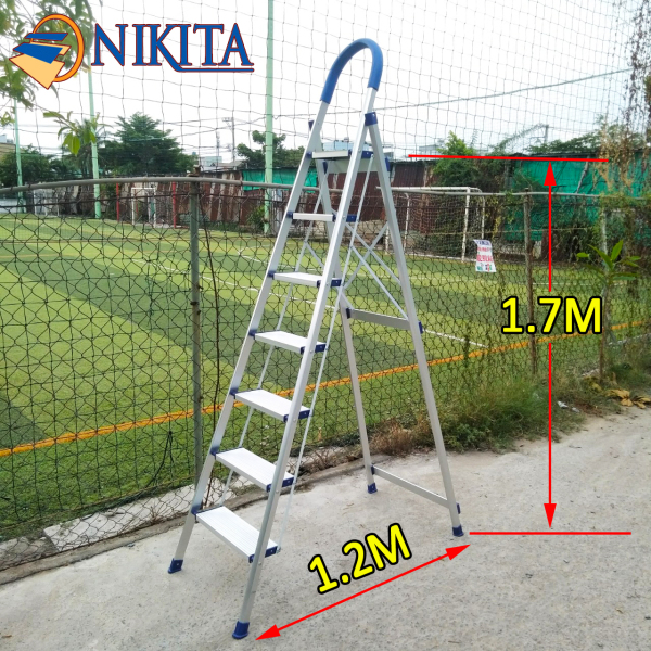 Thang nhôm ghế tay vịn 7 bậc 1.7M Nikita DL07 Nhật Bản (bảo hành 2 năm)