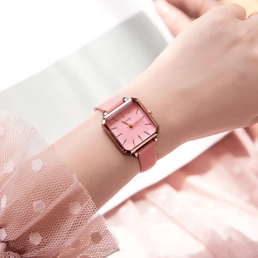 Đồng hồ nữ thời trang kiểu dáng sang chảnh-Đồng hồ nữ mặt vuông-Đông hô nữ bán chạy