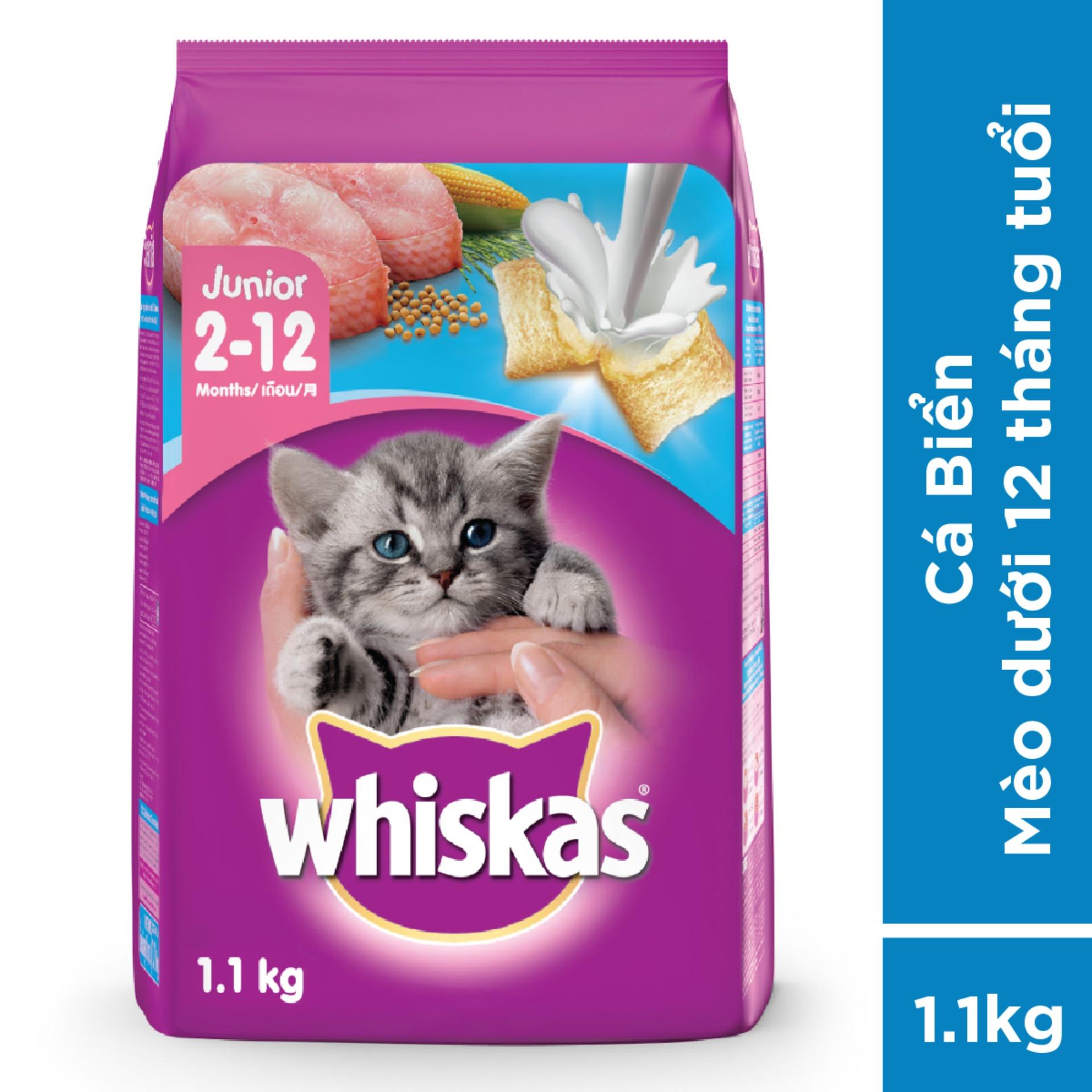 Thức ăn Mèo Con Whiskas Vị Cá Biển & Sữa 1.1kg Giá Ưu Đãi Nhất