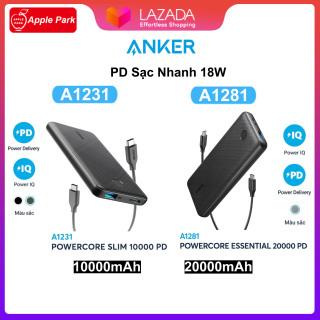 Sạc Dự Phòng ANKER A1231 10000mAh A1281 20000mAh iPhone Sạc Nhanh PD 18W PowerCore Slim,2 Cổng Đầu Ra USB-A Max 12W PD Max 18W thumbnail