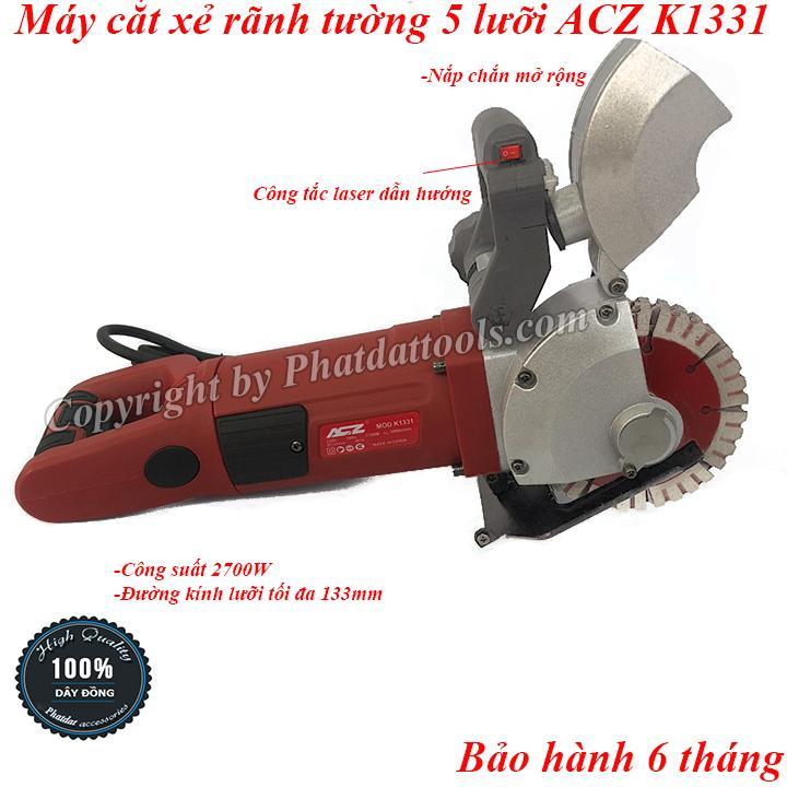 Máy cắt xẻ tạo rãnh tường 5 lưỡi ACZ K1331-Công suất 2700W-Đầy đủ phụ kiện-Bảo hành 6 tháng