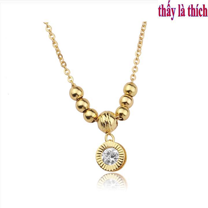 Giá bán Dây chuyền trẻ em inox mạ vàng thấy là thích mặt hình tròn phối bi - DCTE00265V030069